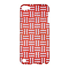 Woven1 White Marble & Red Brushed Metal Apple Ipod Touch 5 Hardshell Case by trendistuff