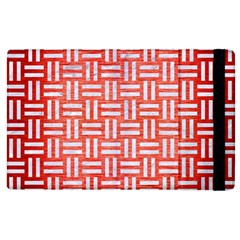 Woven1 White Marble & Red Brushed Metal Apple Ipad 3/4 Flip Case by trendistuff