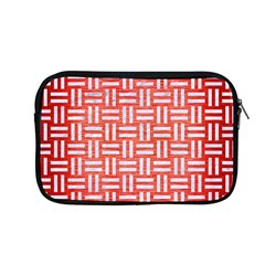 Woven1 White Marble & Red Brushed Metal Apple Macbook Pro 13  Zipper Case by trendistuff