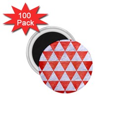 Triangle3 White Marble & Red Brushed Metal 1 75  Magnets (100 Pack)  by trendistuff