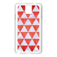 Triangle3 White Marble & Red Brushed Metal Samsung Galaxy Note 3 N9005 Case (white) by trendistuff