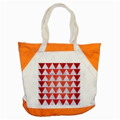 Triangle2 White Marble & Red Brushed Metal Accent Tote Bag by trendistuff