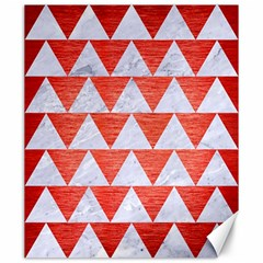 Triangle2 White Marble & Red Brushed Metal Canvas 20  X 24