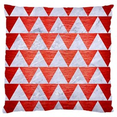 Triangle2 White Marble & Red Brushed Metal Large Cushion Case (one Side) by trendistuff