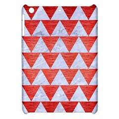 Triangle2 White Marble & Red Brushed Metal Apple Ipad Mini Hardshell Case by trendistuff