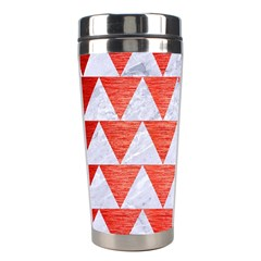 Triangle2 White Marble & Red Brushed Metal Stainless Steel Travel Tumblers by trendistuff