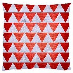 Triangle2 White Marble & Red Brushed Metal Large Flano Cushion Case (one Side) by trendistuff