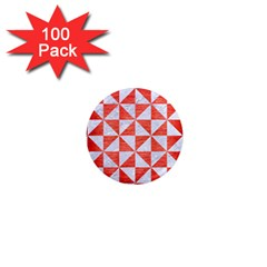 Triangle1 White Marble & Red Brushed Metal 1  Mini Magnets (100 Pack)  by trendistuff