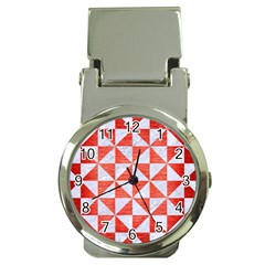 Triangle1 White Marble & Red Brushed Metal Money Clip Watches by trendistuff