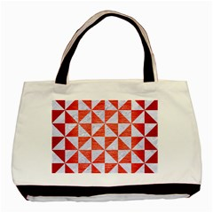Triangle1 White Marble & Red Brushed Metal Basic Tote Bag by trendistuff