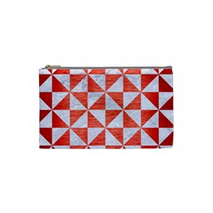 Triangle1 White Marble & Red Brushed Metal Cosmetic Bag (small)  by trendistuff
