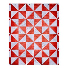 Triangle1 White Marble & Red Brushed Metal Shower Curtain 60  X 72  (medium)  by trendistuff