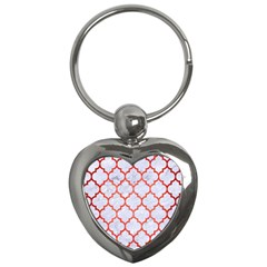 Tile1 White Marble & Red Brushed Metal (r) Key Chains (heart)  by trendistuff