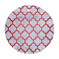 Tile1 White Marble & Red Brushed Metal (r) Round Ornament (two Sides) by trendistuff