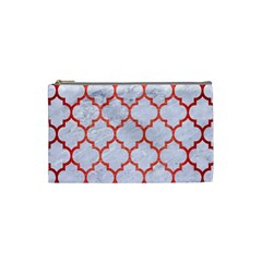 Tile1 White Marble & Red Brushed Metal (r) Cosmetic Bag (small)  by trendistuff