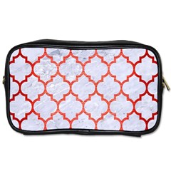 Tile1 White Marble & Red Brushed Metal (r) Toiletries Bags 2 Side by trendistuff