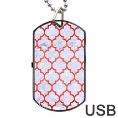Tile1 White Marble & Red Brushed Metal (r) Dog Tag Usb Flash (two Sides) by trendistuff