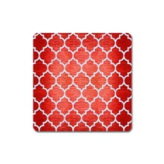 Tile1 White Marble & Red Brushed Metal Square Magnet by trendistuff