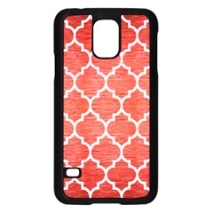Tile1 White Marble & Red Brushed Metal Samsung Galaxy S5 Case (black) by trendistuff