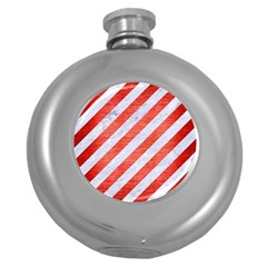 Stripes3 White Marble & Red Brushed Metal (r) Round Hip Flask (5 Oz) by trendistuff
