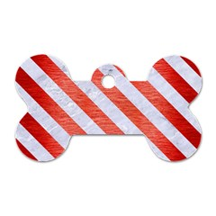 Stripes3 White Marble & Red Brushed Metal Dog Tag Bone (one Side) by trendistuff