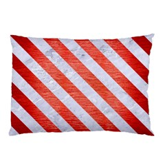 Stripes3 White Marble & Red Brushed Metal Pillow Case by trendistuff