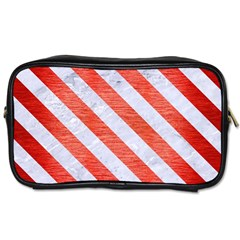 Stripes3 White Marble & Red Brushed Metal Toiletries Bags by trendistuff