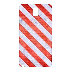 Stripes3 White Marble & Red Brushed Metal Samsung Galaxy Note 3 N9005 Hardshell Back Case