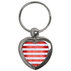 Stripes2white Marble & Red Brushed Metal Key Chains (heart)  by trendistuff