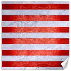 Stripes2white Marble & Red Brushed Metal Canvas 16  X 16   by trendistuff