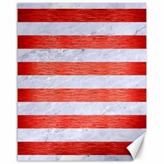 Stripes2white Marble & Red Brushed Metal Canvas 16  X 20