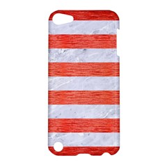 Stripes2white Marble & Red Brushed Metal Apple Ipod Touch 5 Hardshell Case by trendistuff