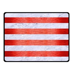 Stripes2white Marble & Red Brushed Metal Double Sided Fleece Blanket (small)  by trendistuff