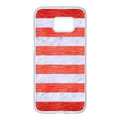 Stripes2white Marble & Red Brushed Metal Samsung Galaxy S7 Edge White Seamless Case