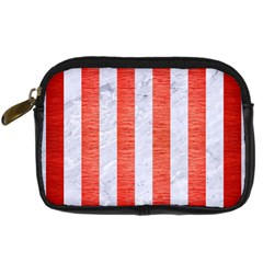 Stripes1 White Marble & Red Brushed Metal Digital Camera Cases by trendistuff