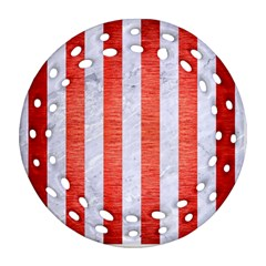 Stripes1 White Marble & Red Brushed Metal Ornament (round Filigree) by trendistuff