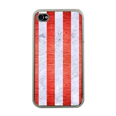 Stripes1 White Marble & Red Brushed Metal Apple Iphone 4 Case (clear) by trendistuff