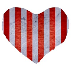 Stripes1 White Marble & Red Brushed Metal Large 19  Premium Heart Shape Cushions by trendistuff