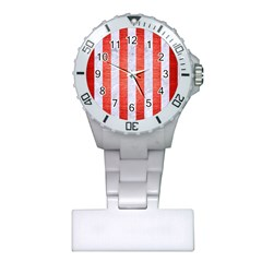 Stripes1 White Marble & Red Brushed Metal Plastic Nurses Watch by trendistuff