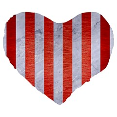 Stripes1 White Marble & Red Brushed Metal Large 19  Premium Flano Heart Shape Cushions by trendistuff