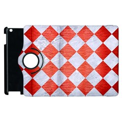 Square2 White Marble & Red Brushed Metal Apple Ipad 2 Flip 360 Case by trendistuff