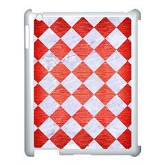 Square2 White Marble & Red Brushed Metal Apple Ipad 3/4 Case (white) by trendistuff