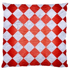 Square2 White Marble & Red Brushed Metal Large Flano Cushion Case (one Side) by trendistuff
