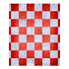 Square1 White Marble & Red Brushed Metal Shower Curtain 60  X 72  (medium)  by trendistuff