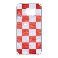 Square1 White Marble & Red Brushed Metal Samsung Galaxy S7 Edge White Seamless Case