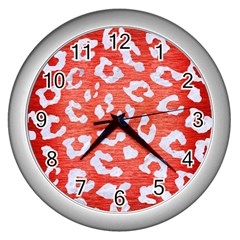 Skin5 White Marble & Red Brushed Metal (r) Wall Clocks (silver)  by trendistuff