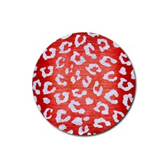 Skin5 White Marble & Red Brushed Metal (r) Rubber Coaster (round)  by trendistuff