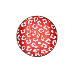 Skin5 White Marble & Red Brushed Metal (r) Hat Clip Ball Marker (10 Pack) by trendistuff