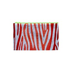 Skin4 White Marble & Red Brushed Metal (r) Cosmetic Bag (xs) by trendistuff