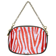 Skin4 White Marble & Red Brushed Metal Chain Purses (two Sides)  by trendistuff